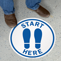 Start Here With Footprints Symbol SlipSafe Floor Sign