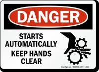 Danger Equipment Building Starts Stops Sign