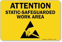 Static Safeguarded Work Area Sign With Graphic