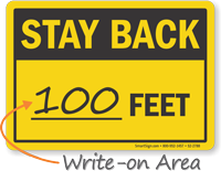 Stay Back Truck Safety Sign