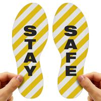Stay Safe Footprints Floor Marker With Stripes