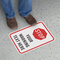 Stop Add Your Warning Text Custom SlipSafe Floor Sign