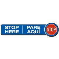 Stop Here Bilingual SlipSafe Floor Sign