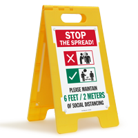 Stop the Spread Please Maintain 6 Feet/2 Meters Of Social Distancing FloorBoss XL™ Floor Sign