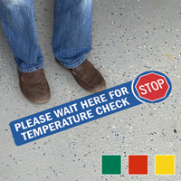 Stop Wait Here For Temperature Check SlipSafe Floor Sign