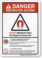 Strong Magnetic Field No Cardiac Pacemakers Sign Sku S