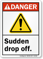 Sudden Drop Off ANSI Danger Sign
