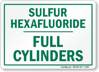 Sulfur Hexafluoride Full Cylinders Sign