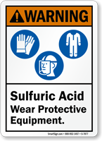 Sulfuric Acid Wear Protective Equipment ANSI Warning Sign