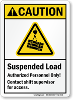 Suspended Load, Authorized Personnel Only ANSI Caution Sign