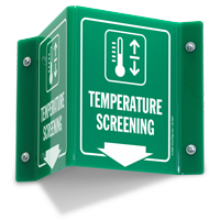 Temperature Screening Projecting Sign