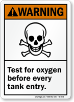 Test For Oxygen Before Tank Entry Warning Sign