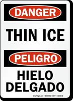 Danger Bilingual Thin Ice, Hielo Delgado Sign