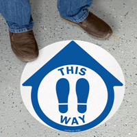 This Way With Footprints Symbol SlipSafe Floor Sign