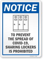 To Prevent The Spread Sharing Lockers Is Prohibited Sign