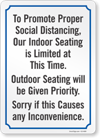 To Promote Social Distancing Indoor Seating Is Limited Sign