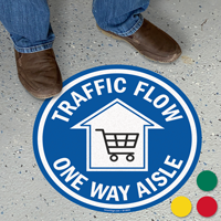 Traffic Flow One Way Aisle SlipSafe Floor Sign