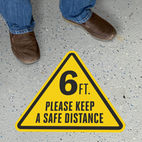 Triangular 6 ft.- Please Keep a Safe Distance Sign