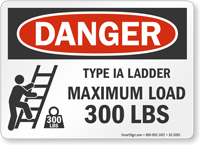 Type IA Ladder Maximum Load 300 Lbs Sign
