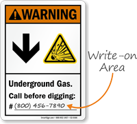Underground Gas Call Before Digging Write On Area Sign