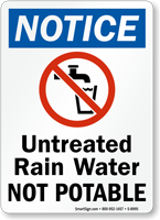 OSHA Untreated Rain Water Not Potable Sign