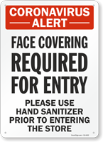 Use Hand Sanitizer Before Entering Face Mask Sign