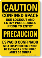 Confined Space Use Lockout Procedures (Bilingual) Sign