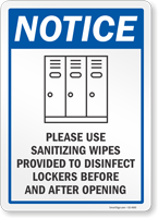 Use Sanitizing Wipes Provided To Disinfect Lockers Sign