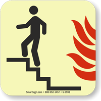 GlowSmart™ Use Stairs in Fire Sign