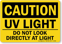 Caution UV Light Sign