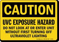 UVC Exposure Hazard Caution Sign