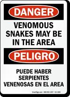 Venomous Snakes Area Bilingual Danger Sign