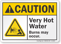 Very Hot Water Burns May Occur ANSI Caution Sign
