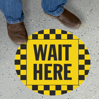 Wait Here Social Distancing SlipSafe Floor Sign