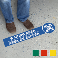 Waiting Area Bilingual SlipSafe Floor Sign