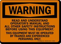 Warning Read Operators Manual Sign