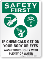 Chemical Hazard Safety First Sign