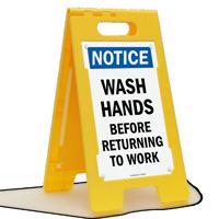Wash Hands Floor Standing Sign