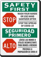 Wash Your Hands Or Use Sanitizer Often Bilingual Sign