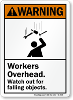Watch Out For Falling Objects ANSI Warning Sign