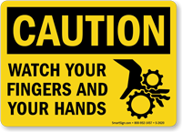Caution Watch Your Fingers Hands Sign