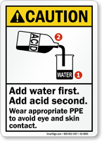 Add Water First, Acid Second, Wear PPE Sign