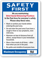 We Are Maintaining Strict Social Distancing Practices Pool Sign