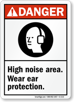 High Noise Area Wear Ear Protection Sign