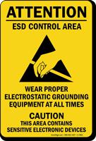 Wear Proper Electrostatic Grounding Equipment Sign