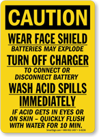 Caution Batteries Explode Acid Sign