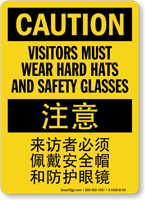 Bilingual Chinese/English Visitors Must Wear Hard Hats Sign
