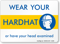 Wear Your Hard Hat/Have Head Examined Sign