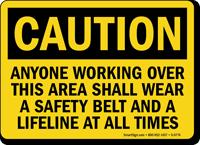Caution: Wear Safety Belt and Lifeline Sign