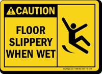 Caution Floor Slippery When Wet Sign